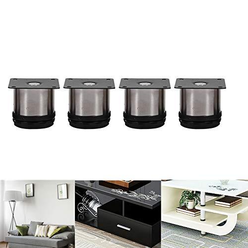 4 pezzi Piedi divano, Piedini mobili regolabili in altezza in acciaio inox Piedini per armadietti tondi Supporto per cucina per casa