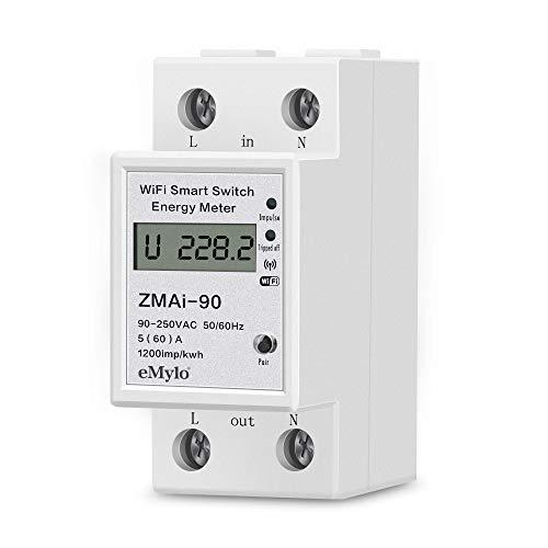 eMylo 1-phasiger DIN-Schienen-Stromzähler, Digitaler Einphasig Energiemessgerät Wlan Stromzähler Stromverbrauch Messgerät Einphasiger Energiezähler mit LCD-Anzeige Schalter KWh-Zähler 90-250V 60A