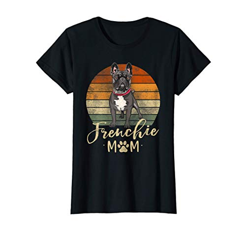 Womens Frenchie Mom Retro Sunset French Bulldog Lover Gift Dog Mama T-Shirt