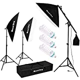 MOUNTDOG Photography Studio Softbox Lighting Kit Continuous Lighting System Photo with 3pcs E27 95W Bulbs Arm Holder...