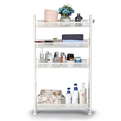 Rackaphile 5-Tier Slim Slide Out Storage Tower Rack Mesh Rolling Organization Serving Cart Shelf for Narrow Spaces Roller, White (5-Tier)