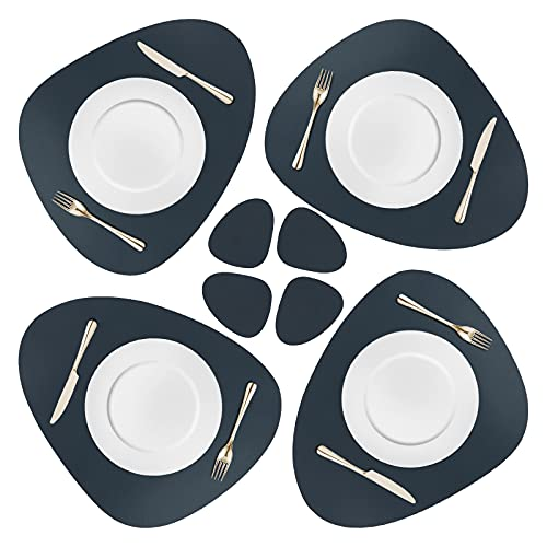 8 pezzi tovagliette e sottobicchieri ovali in pelle PU Set 4 tovagliette e 4 sottobicchieri Isolamento termico lavabile impermeabile Tappetini da pranzo antiscivolo per feste Home Restaurant BBQ Blue