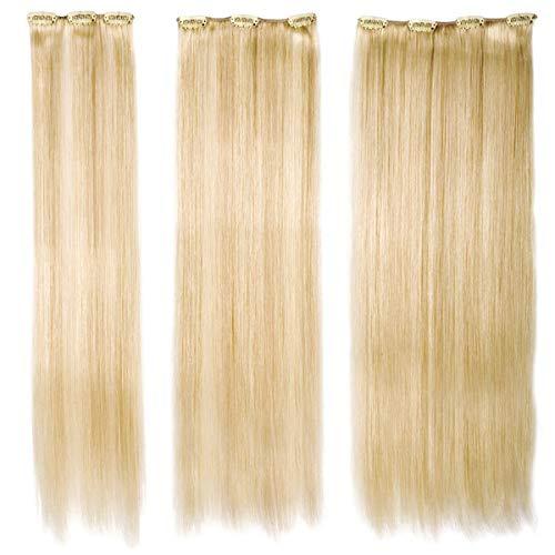SANGRA Extensiones de clip de cabello natural–3 piezas 50cm-Pelo 100% natural-Fácil de poner (Castaño medio claro con rubio dorado mechado (8.26))