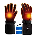 ROCKPALS Electric Heated Gloves with Battery for Men and Women, Rechargeable Hand Warmer Gloves Water-Resistant, Touchscreen Texting Thermal Heat Gloves for Skiing Cycling Riding Hunting Fishing(XL)