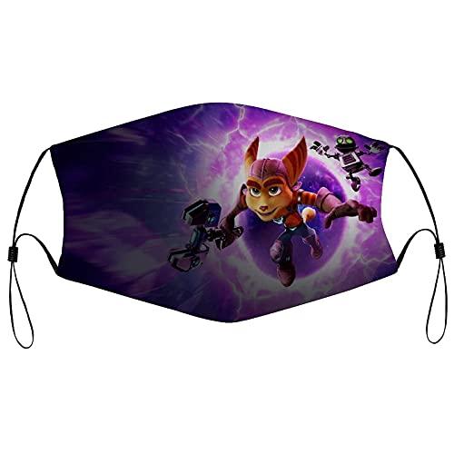 Ratchet & Clank Rift Apart - Máscara facial de tela reutilizable lavable para la cara, máscara deportiva transpirable, ajustable para el cuello, para hombres y mujeres al aire libre