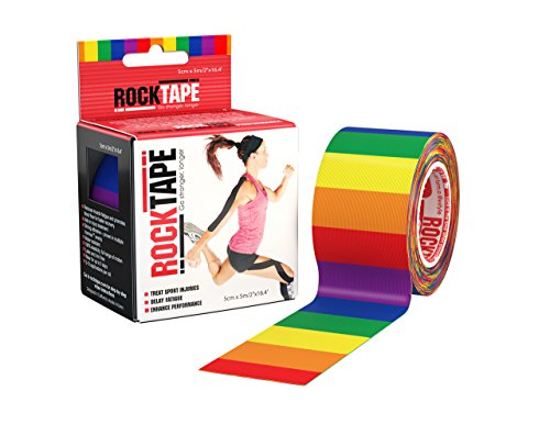 RockTape Original 2-Inch Water-Resistant Kinesiology Tape, 16.4-Foot Continuous Roll, Rainbow