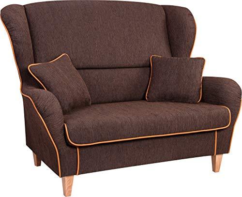 Supellex, Sofa/Ohrensessel, Zweisitzer mit Zwei Hockern, Dessin: Cord, braun