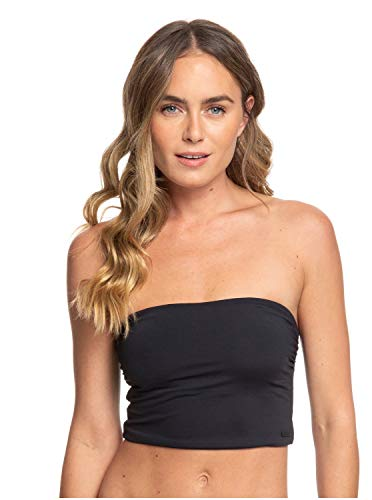 Roxy Junior's Beach Classics Bandeau Swimsuit Top, True Black, X-Small