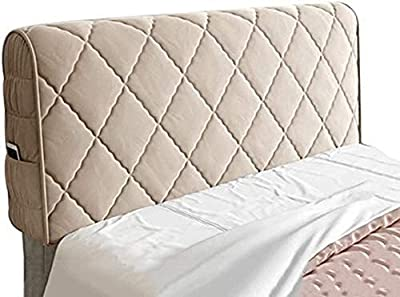 Headboard Cover Bed Headboard Cover Single/Double/King Size,Upgraded Version Dustproof Stretch Bed Head Protector Cover Decoration。Simple and Generous Side Pockets Thickened。 Backrest Cover