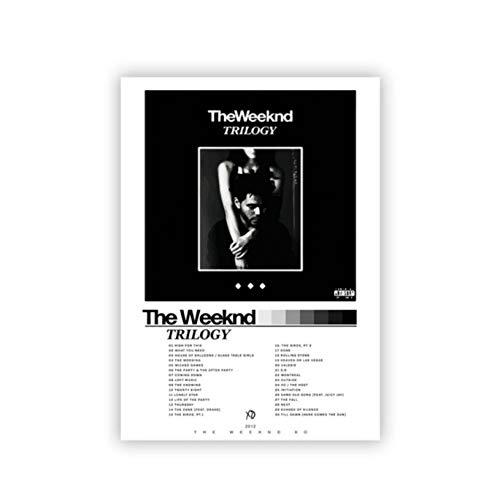 DNJKSA The Weeknd Trilogy Album Poster Musica Stampe d'Arte Regalo del Fan Bianco e Nero Immagine di Arte della Parete Pittura su Tela Home Decor-20x30 in Nessuna Cornice