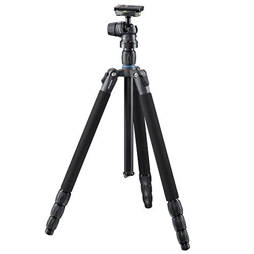 Mantona SG-350 Stativ (Höhe 168 cm, Belastbarkeit 8kg, Drehverschluss-Beinverriegelung, Kugelkopf mit Schnellwechselplatte, Premium Tragetasche) schwarz