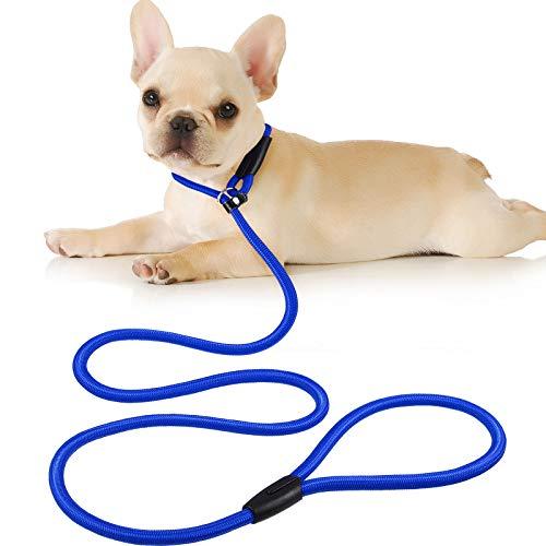Cuerda de Correa Ajustable de Nylon de Plomo de Perro Correa de Entrenamiento de Mascotas Cuerda de Collar de antideslizantepara Caminar Entrenamiento Mascotas 1,5 m (Azul)