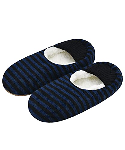 Mens Cozy Soft Sole Slipper Socks With Non Skid Bottoms, Warm Slipper Socks With Grippers For Men, Fuzzy House Slippers(Navy Stripe, 10-13)