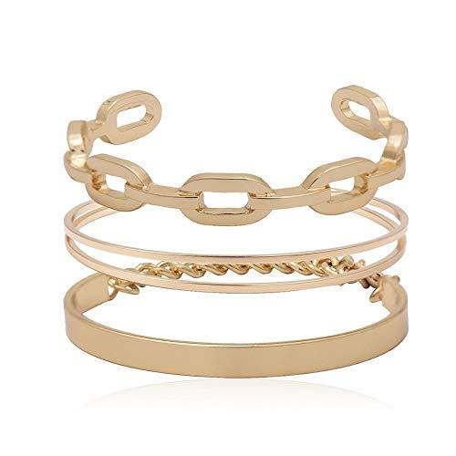Pulseras de metal de oro punk para mujeres y hombres, geométricas, pulseras y brazaletes de cadena gruesa de moda Hip Hop para mujer (color metal: color dorado)