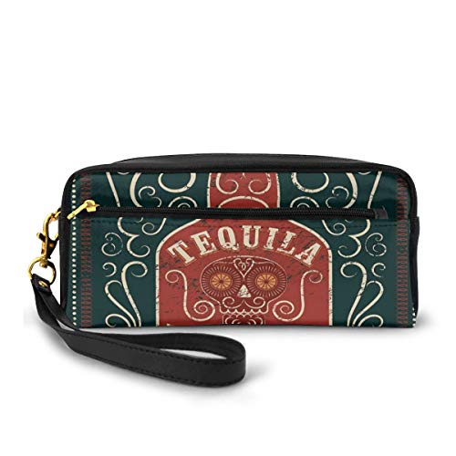 Pencil Case Pen Bag Pouch Stationary,Retro Poster Like Design Swirls And Bottle With Sugar Skull,Small Makeup Bag Coin Purse