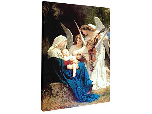 Virgen María y ángeles jugando violín Jesús Madonna y niño foto Bouguereau Bendita Madre Imagen Santa María pintura católica cristiana religiosa arte de pared estirada y enmarcada listo para colgar