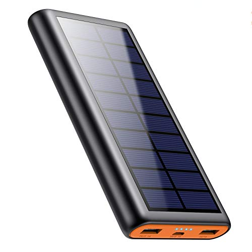QTshine Solar Powerbank 26800mAh, Externer Akku Ladegerät, Solar Power Bank Pack mit 2 Ausgängen speziell für Aktivitäten im Freien, kompatibel mit Allen Smartphones, Tablets und USB-Geräten