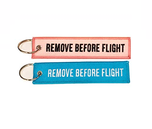 Lot de porte-clés avec inscription Remove Before Flight Rose + Bleu