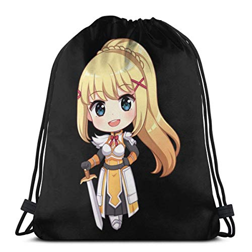 QiangQ Bolso con cordón Drawstring Bags Sport Gym Sack Party Favor Bags Wrapping Gift Bag Drawstring Backpack Storage Goodie Bags Cinch Bag - Konosuba Chibi Darkness