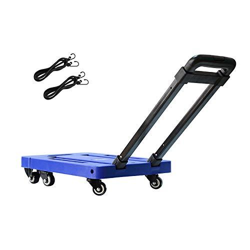 Carretilla Plegable Máxima 200 kg, Carretilla de Mano con 6 Ruedas Carro transporte plegable Plataforma de carga Carritos Porta Equipajes (Azul)