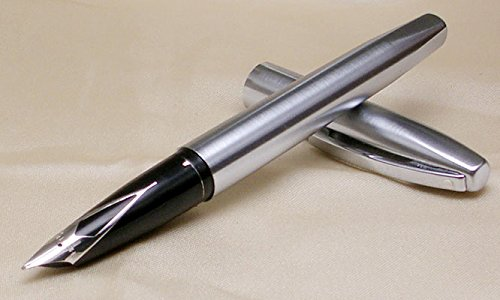 Price comparison product image Made in The USA Cross Sheaffer Triumph Imperial Brushed Chrome and Stainless Steel Medium Nib Fountain Pen -with cartridges and Converter System