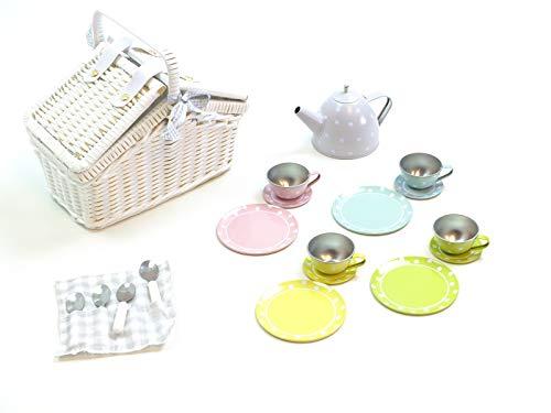 JaBaDaBaDo Picknickkorb mit Tee-Set aus Metall / Farbe: Pastell mit weißen Punkten / weisser Korb mit Griff und Deckel / Maße Korb: 24 x 13 x 20 cm