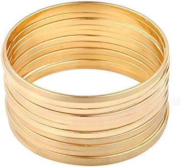 Nicole Miller New York Gold Multibangle Set of 12 Plain Matte Glossy Bangle Bracelets product image