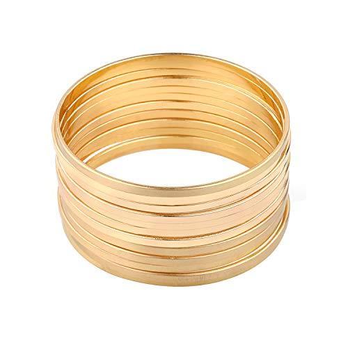 Nicole Miller New York Gold Multibangle Set of 12 Plain Matte Glossy Bangle Bracelets