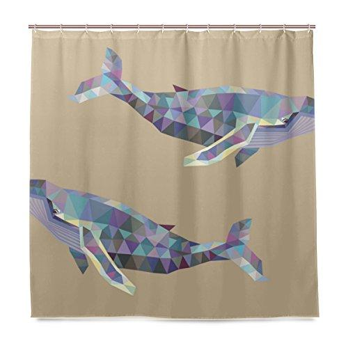 MNSRUU Duschvorhänge Badezimmer Vorhang inkl. 12 Haken Geometrie Wal auf beigem Hintergr& bedrucktes Polyestergewebe schimmelresistent wasserdicht