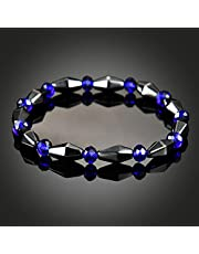 Bundle of 2, Anself 1 PCS Weight Loss Healthcare Round Black Stone Magnetic Therapy Hand Chain Body Care Hematite Stretch Bracelet Magnet Jewelry For Men Women