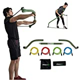 Gorilla Bow Portable Home Gym Resistance Bands and Bar System for Travel, Fitness, Weightlifting and Exercise Kit, Full Body Workout Equipment Set (Travel Bow - Green)