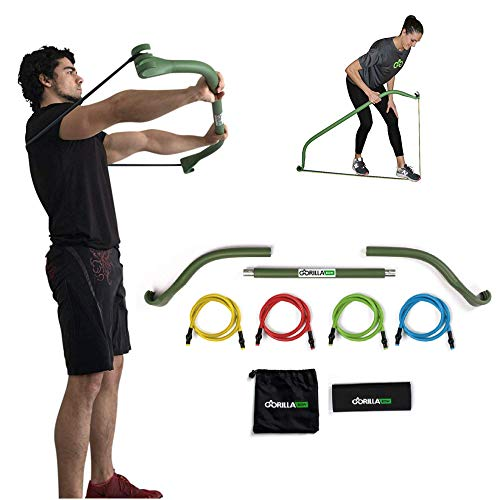 Gorilla Bow Portable Home Gym Resistance Bands and Bar System for Travel Fitness Weightlifting and Exercise Kit Full Body Workout Equipment Set Travel Bow  Green