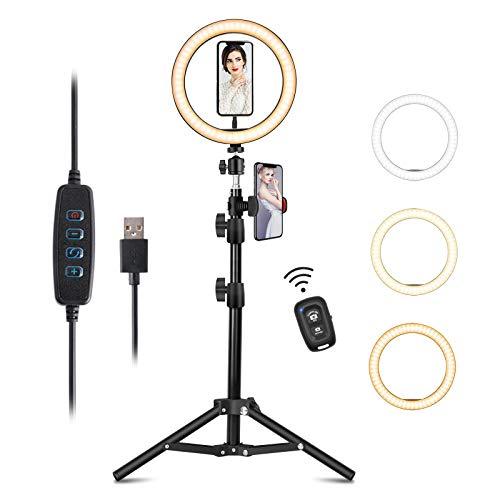 Anillo de Luz LED para Selfie de 8 pulgadas con Trípode y Soporte para Teléfono, 3 Colores y 10 Brillos Regulables, para TIK Tok, Selfie, Maquillaje, fotografía, Streaming, Youtube