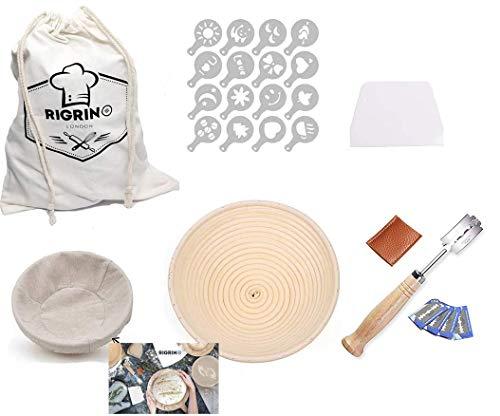 RIGRIN - Cestino rotondo per il pane, 25,4 cm, 1 raschietto per pasta in plastica, 16 stencil decorativi, 1 cesto di lino, 1 grande sacchetto di stoffa in rattan naturale per panettieri