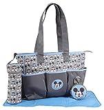 Disney Boys Mickey Mouse Multi Pc Diaper Bag Set, Happy Mickey Print, Grey, Large Diaper Bag