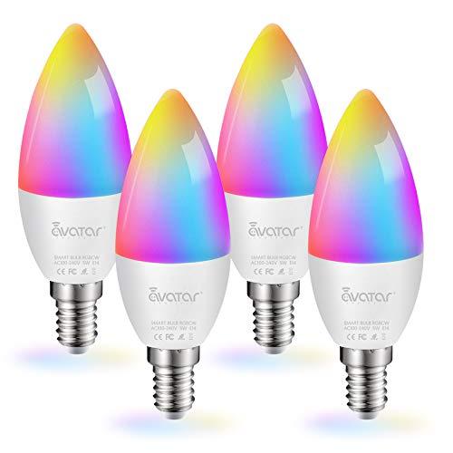 Lampadina Smart E14 (4), WiFi Bluetooth Intelligente LED Lampadine a Candela, Compatibile con Alexa e Google Assistant by Avatar Controls, RGBCW Multicolore Dimmerabile 5W=40W 2700K-6500K (4)