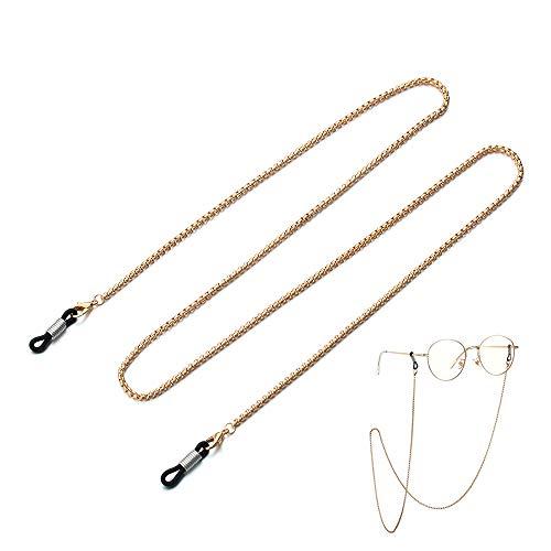 Cadena de gafas de oro antideslizante para gafas de lectura con cordón de perlas y estrellas para gafas de sol