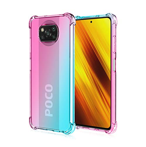 FANFO® Funda para Xiaomi Poco X3 Pro/Xiaomi Poco X3 NFC, Color Degradado Transparente TPU Carcasa Ultradelgado Antimanchas Silicona Case Compatible Carga Inalámbrica Cover, Rosa/Verde
