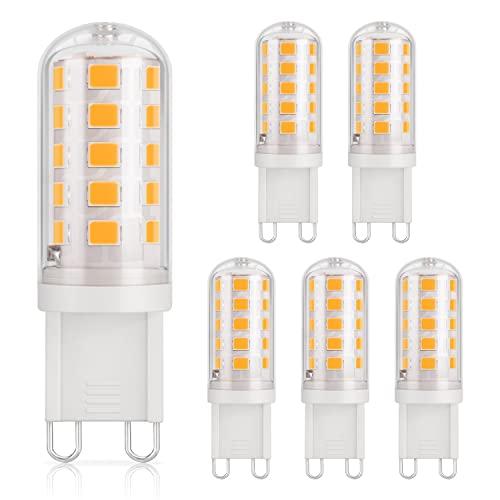 DiCUNO 3W G9 LED Lampe, 430 Lumen, Warmweiß 3000K, Nicht Dimmbar, Ersatz für 30W/33W/40W Halogenlampe, 220-240V, CRI>85,Enegiesparende G9 Mini Kleine LED Birne, 6 Stücks