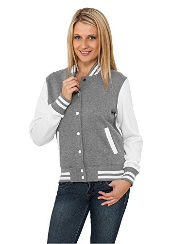 Urban Classics TB218 Damen Jacke Ladies 2-tone College Sweatjacket, Mehrfarbig(gry/wht), Small