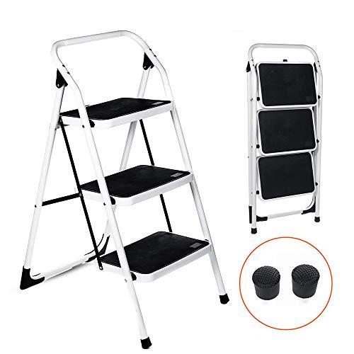 NOBGP Vouwen 3-staps Ladder, Draagbare Heavy Duty Step Kruk met Handgreep en Breed Anti-Slip Platform Stevige Bouw voor Huishouden, Kantoor, 330lbs Capaciteit