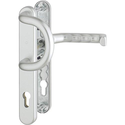 HOPPE Wechselgarnitur Liverpool | PZ 92 mm| Haustür-Garnitur | Schmalschild | silber | Drücker-Bügelgriff