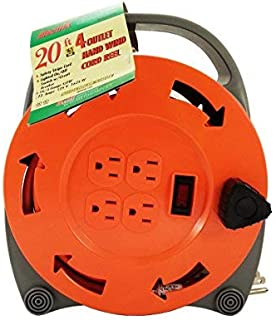 Electrix EC094 Extension Cord Reel with 4-Outlet, Hand Wind, 16/3 AWG, Medium Duty, UL Listed, Orange, 20-Foot
