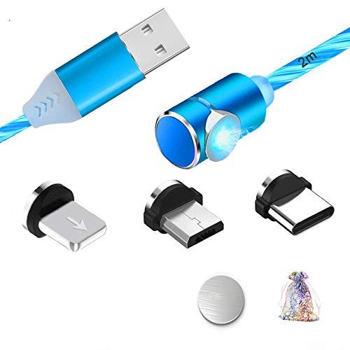 Kyerivs Magnetisches USB C Ladekabel Aufladung Kabel 3 in 1mit Mikro Beleuchtungmit Gefuhrtem Sichtbarem Fliesen Magnet USB Ladekabel Geeignet fur Android Phone Samsung Galaxy
