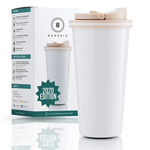 BOHORIA® Premium Edelstahl Kaffee-to-Go-Becher 2020 Edition | Thermo-Becher | Isolierbecher – Vakuumisoliert - 500 ml | Reise-Becher für Kaffee – Autobecher Travel Mug (Classic White)