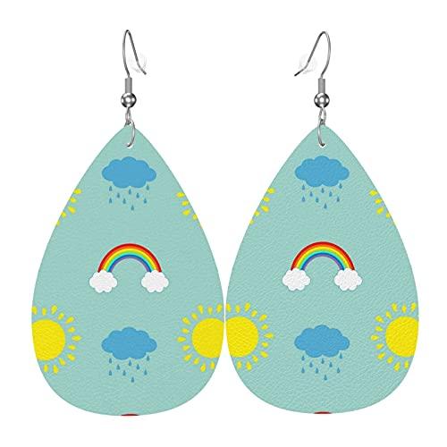 Nette Karikatur-Sonnenwolke mit Regen-Regenbogen-Leder-Ohrringen für Frauen-Neujahrs-Party-Ohrringe Teardrop baumeln Leichter Blatt-Ohrring
