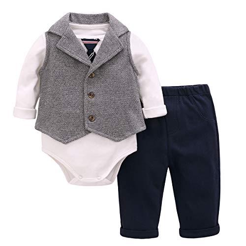 Bebone Baby Junge Smoking Taufe Hochzeit Anzug Babybekleidung Set (Blau, 66)