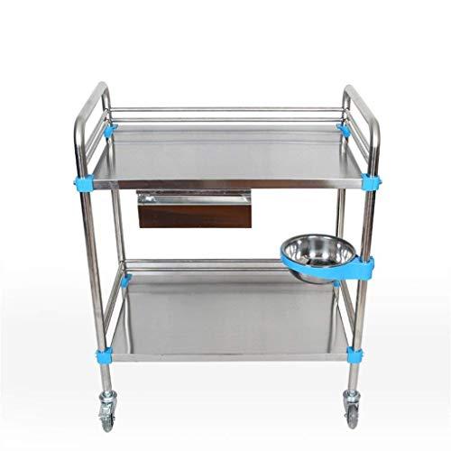 XUSHEN-HU Carro de instrumentos de acero inoxidable, carrito silencioso, cuatro ruedas pequeño remolque/salón de belleza de hospital doble (tamaño: 70 x 43 x 85 cm) cocina
