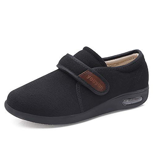PXQ Zapatos para Caminar para Hombres Zapatillas de Deporte amplias y Anchas con Cojines de Aire Anchos para la Fascitis Plantar, ortopédicos, juanetes, diabéticos,Negro,45 ✅