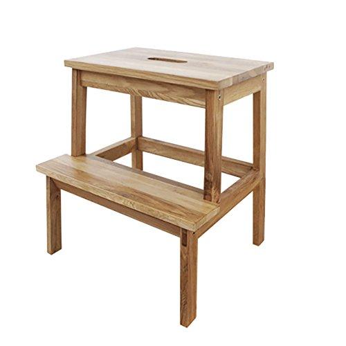 JD Taburete Wooden 2 Tread Step Stool para Adultos y niños Homewares Wood Ladders Small Foot Stools Indoor Portable Shoe Banco/Flower Rack Durable